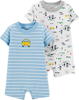 Baby Boy's 2 Pack Cotton Romper Creeper Set