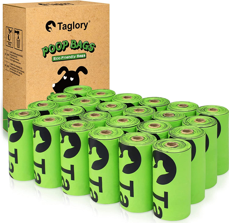 Taglory Bolsas caca Perro, 24 Rollos/360 Unidades Bolsas Caca Perro Biodegradables, Perfumadas Bolsas Excrementos Perros, Extra Gruesa Prueba de Fugas, Fuerte y a Prueba, 23 x 33cm