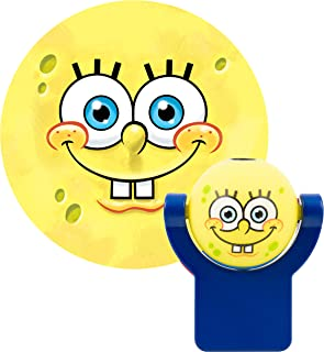 Projectables 11708 Spongebob Squarepants LED Plug-in Night Light, Yellow and Blue, Light Sensing, Auto On/Off, Projects Nickelodeon Spongebob Squarepants Image on Ceiling, Wall, or Floor