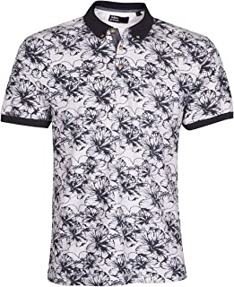 Urban Revival Men's Floral Flower Print Polo Shirt (Sizes M-2XL) Natural Cotton T-Shirt Top