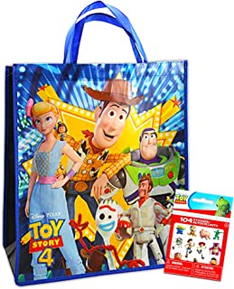 Toy Story Tote Bag with Stickers -- Deluxe Reusable Toy Story 4 Tote Featuring Woody, Forky, and More (Toy Story Party Supplies)
