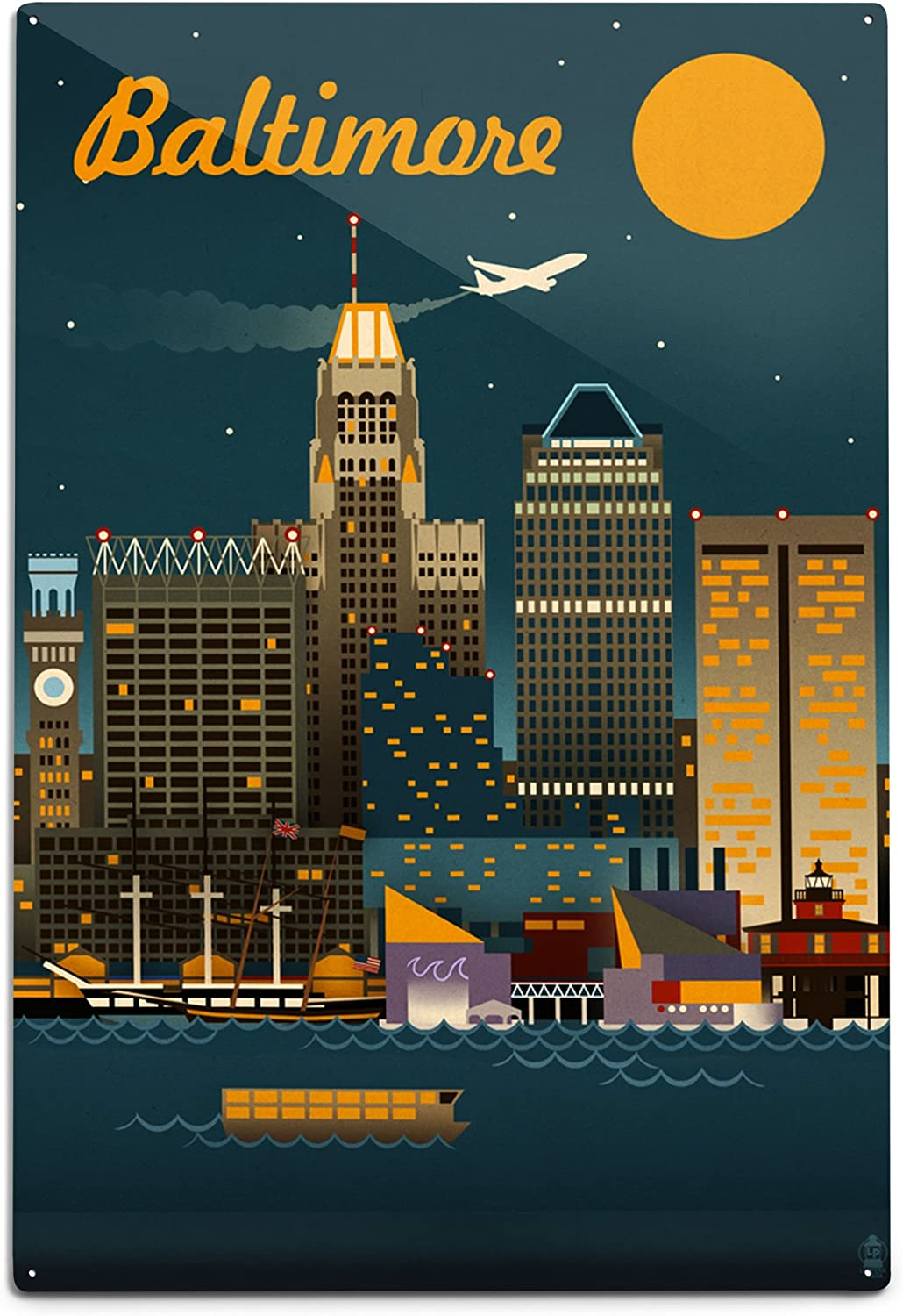 Wall Decal Sticker Baltimore Skyline 21 Tall 54 Wide in White or Black