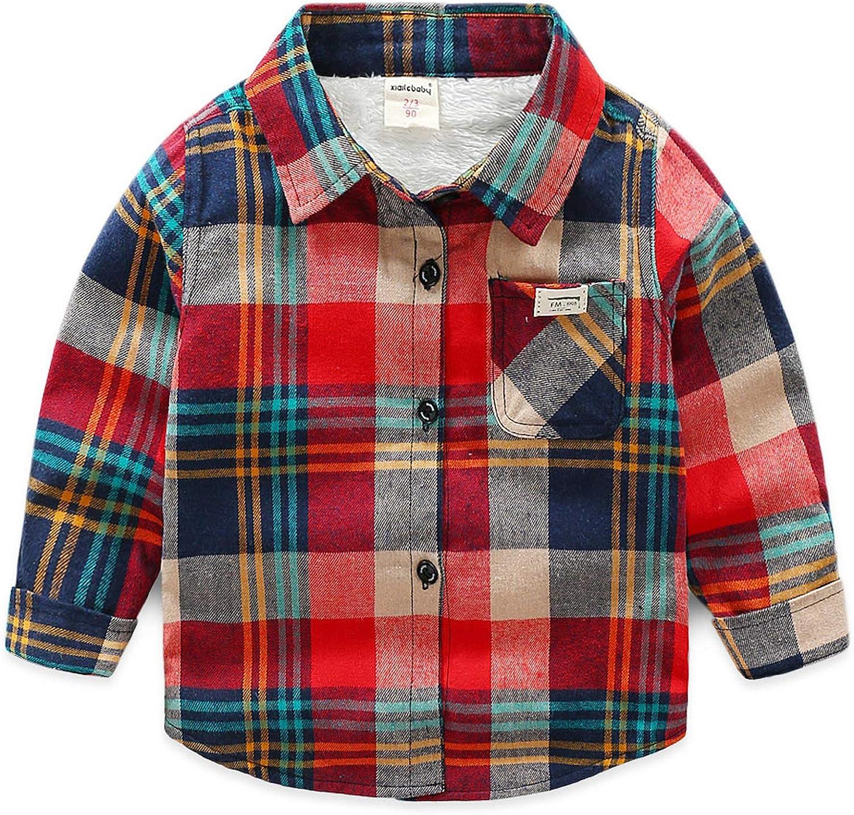Boys Plus Fleece Shirt Children's Plaid Long-Sleeved Thickened Shirt