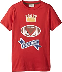 Fendi Kids - Short Sleeve 'Cheer Fendi' Football Graphic T-Shirt (Little Kids)