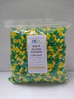 PurecapsUSA - Light Green/Yellow Empty Gelatin Capsules - Size 0 (1,000 Joined Capsules)