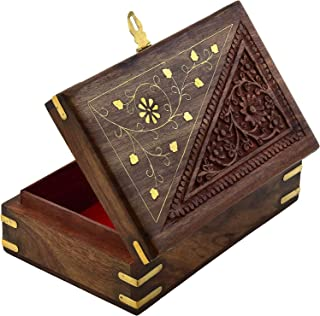 Fine Craft India Wooden Designer Handcarved Jewellery Box Jewel Storage Organizer Great Gift Ideas Dimensions: 8 x 5 x 2.2 Inch, Weight - 530 GM