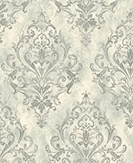 Victorian Damask Silver Wallpaper Vintage Gunmetal Gray Diamond Pattern Arts and Crafts Design