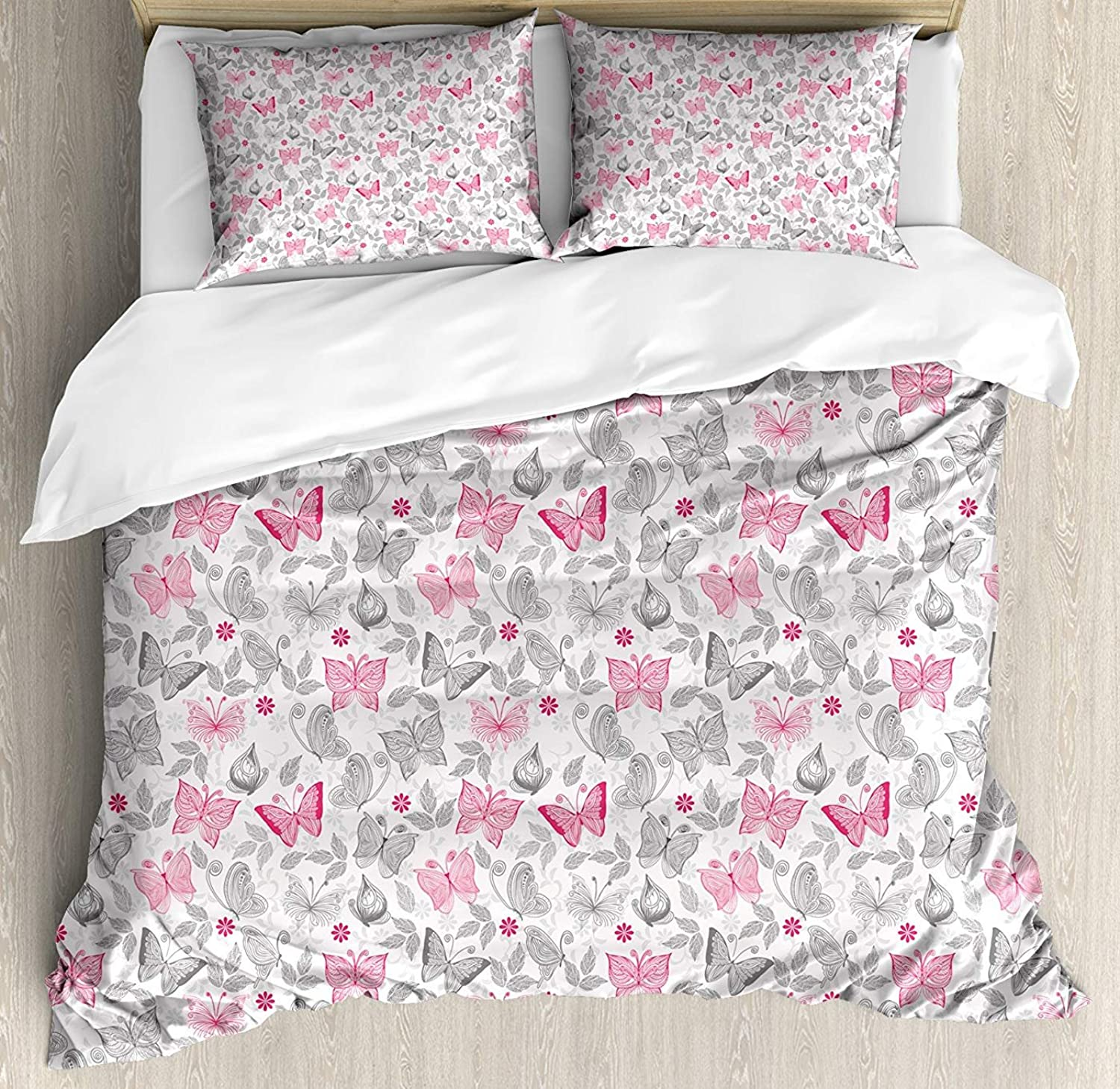 Fandim Fly Butterfly Bedding Set Twin Size, Sketch Style Animals Leaves Abstract Nature Depiction Romantic Swirls Lines,Comforter Cover Sets for All Season, Grey Pink White