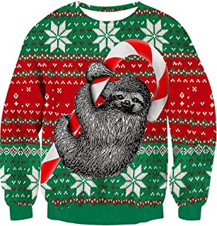 Idgreatim Men Women Funny Ugly Christmas Sweater Long Sleeve Pullover Knitted Sweaters Jumper Tops