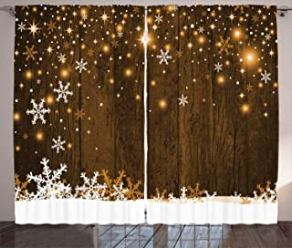 Ambesonne Christmas Curtains, Rustic Wooden Backdrop with Snowflakes and Warm Traditional Celebration Print, Living Room Bedroom Window Drapes 2 Panel Set, 108