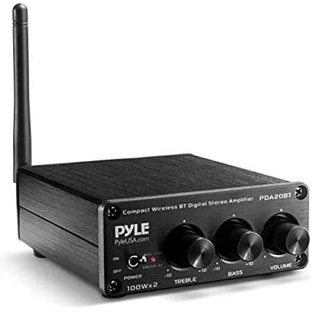 Bluetooth HiFi Mini Audio Amplifier - Class D Digital Desktop PC Stereo Amplifier Receiver (2 x 100 Watt MAX) Aluminum Diecast- Pyle PDA20BT