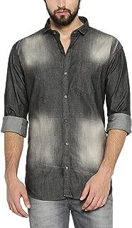 Campus Sutra Men's Tie-Dye Regular Fit Casual Shirt (AZ18SHRT_F4SHD_M_PLN_BLCR_AZ_S)
