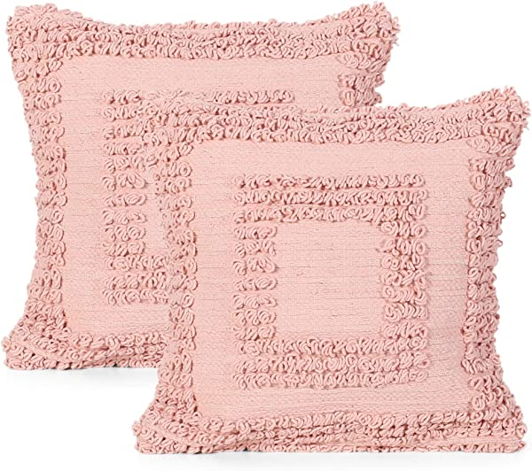 Great Deal Furniture Debra Boho Cotton Throw Pillow Set Of 2 Pink