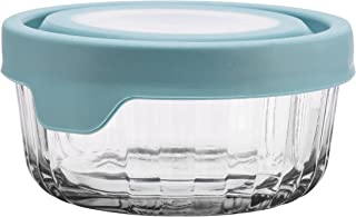 Anchor Hocking TrueSeal Embossed Glass Food Storage Container with Airtight Lid, Mineral Blue, 2 Cup