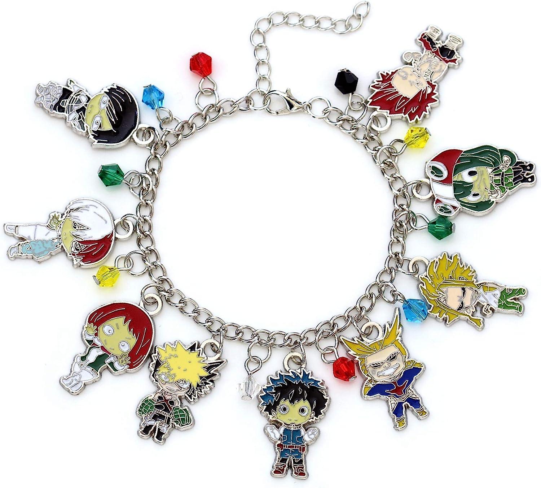 My Hero Academia Fashion Novelty Charm Bracelet Anime Manga Series Midoria Izuku Katsuki Bakugo Ochaco Uraraka Tenya Iida Shoto Todoroki Tsuyu Asui Eijirō Kirishima All Might charm bracelet
