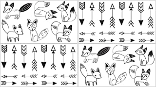 Sweet Jojo Designs Black and White Fox Boy or Girl Baby and Kids Peel and Stick Wall Decal Stickers Art Nursery Decor - Set of 4 Sheets