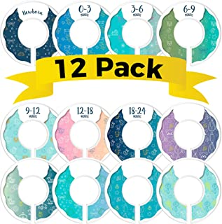 CORRURE 12 Pack Baby Closet Size Dividers (Blue) - Complete Unisex Nursery Closet Organizer Set - Clothes Age/Size from Ne...