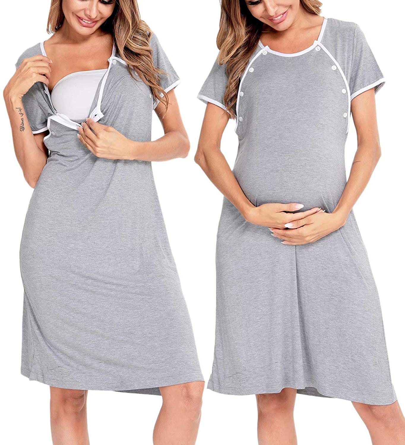 SWOMOG Nursing Nightgown free for Women Deliv Labor New Shipping Free and Breastfeeding
