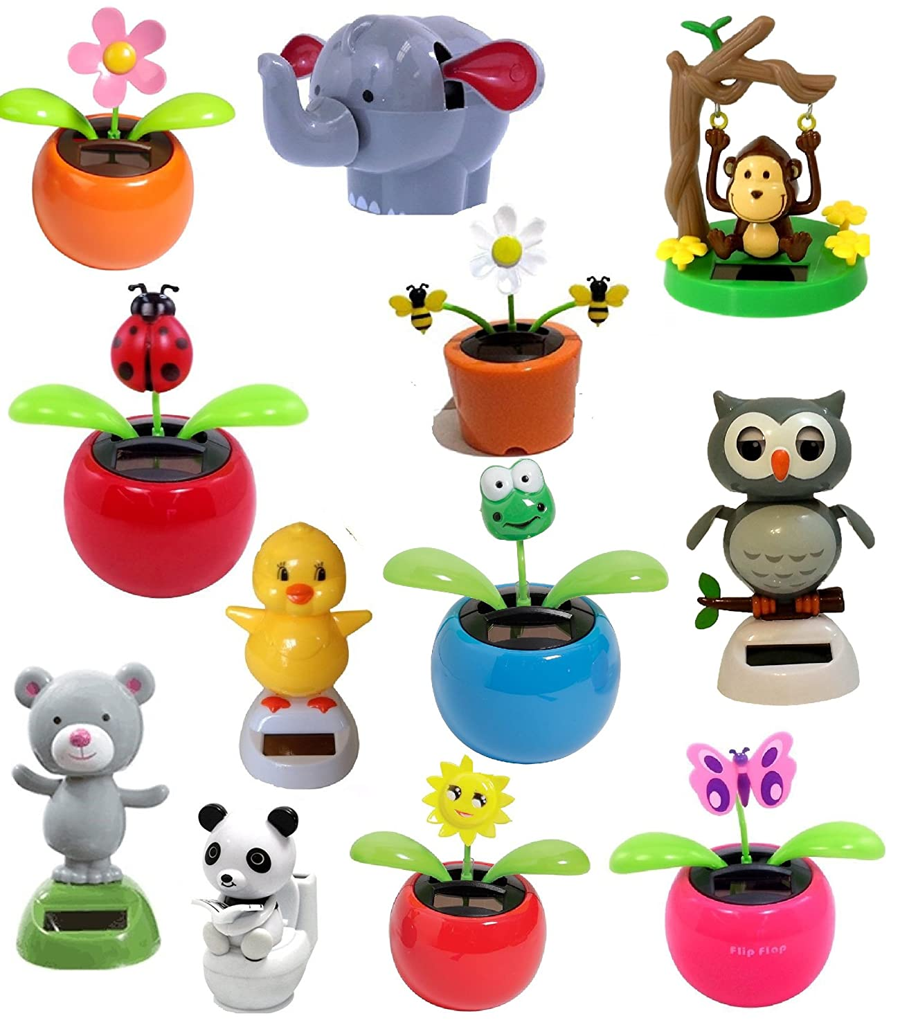 Set of 4 Assorted Dancing Solar Toys ~ Solar Toys are Daisy Flower, Lady Bug, Dancing Bear, Panda on Toilet and more! Great Holiday Christmas Gift Car Dashboard Office Desk Home Decor udeeqnqqzka14