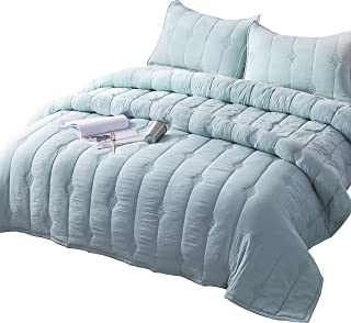 ANNA.Z HOME Ethan Comforter, Quilt, Stone Washed Microfiber 3 Pieces Set, Stitching and Embroidery, King and Queen Set Available in Solid Colors, Good for All Seasons. (Cloud Blue, Queen Set)