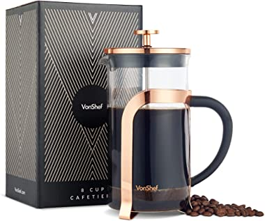 VonShef Premium Glass Heat Resistant French Press Cafetiere Coffee Maker, Stainless Steel, Copper, 1 Liter, 34 Fluid Ounces, 8 Cup