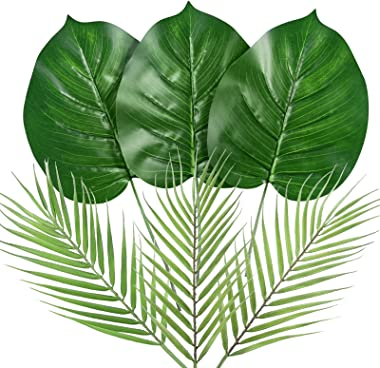 Auihiay 6 Pieces 2 Kinds Artificial Tropical Palm Leaf Jungle Leaves with Stem for for Hawaiian Luau Party Jungle Beach Theme