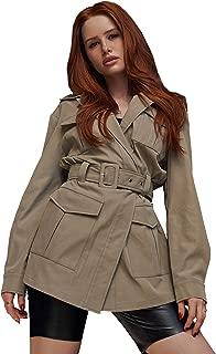 SheIn Women's Casual Long Sleeve Jacket Pocket Detail Belted Coat