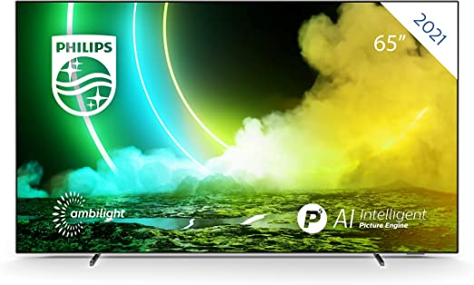 TALLA 65 Pulgadas Modelo 2021. Philips Ambilight TV 65OLED705/12 OLED TV 65 Pulgadas (4K UHD, P5 Engine, Dolby Vision∙Atmos, HDR 10+, Control por Voz, Android TV) Cromado [Modelo de 2020/2021]