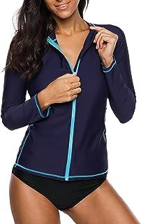cb8800b454 ATTRACO Women s Rashguard Swimsuit Zip Front Sun Protection Swim Shirt UPF  ...