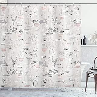 Ambesonne Indie Shower Curtain, Minimalist Pattern with Trees Foliage Deer Rabbit Fox Bear, Cloth Fabric Bathroom Decor Set with Hooks, 70