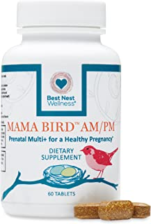 Mama Bird AM PM Prenatal Multivitamin, Methylfolate (Folic Acid), Methylcobalamin (B12), 100% Natural Whole Food Organic Herbal Blend, Vegan, Twice Daily Vitamin, 60 Ct