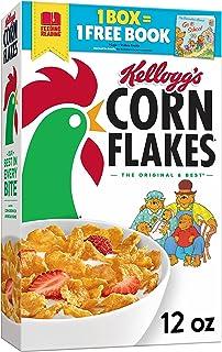 Kellogg's Corn Flakes Breakfast Cereal, 8 Vitamins and Minerals, Healthy Snacks, Original, 12oz Box (1 Box)