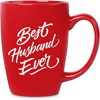 Best Husband Ever - 14 oz Red Bistro Coffee Mug - Best Gift Ideas for Husband Him - Birthday Christmas Valentines Anniversary Fathers Day - Funny Novelty Present - Unique Mugs Cups Gift Presents Mugs