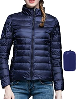 Women Packable Down Coat Ultra Light Warm Stand Collar Puffer Jacket