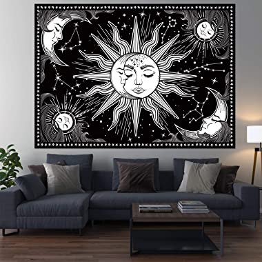 HOTMIR Wall Tapestry - Black and White Tapestry Wall Hanging Mystic Tapestry as Wall Art and Room Decor for Bedroom, Living R