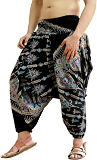 Mens Womens Cotton Golden Printed Harem Pants Yoga Drop Crotch Trouser
