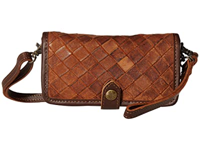 STS Ranchwear Basket Weave Crossbody Wallet (Brown) Handbags