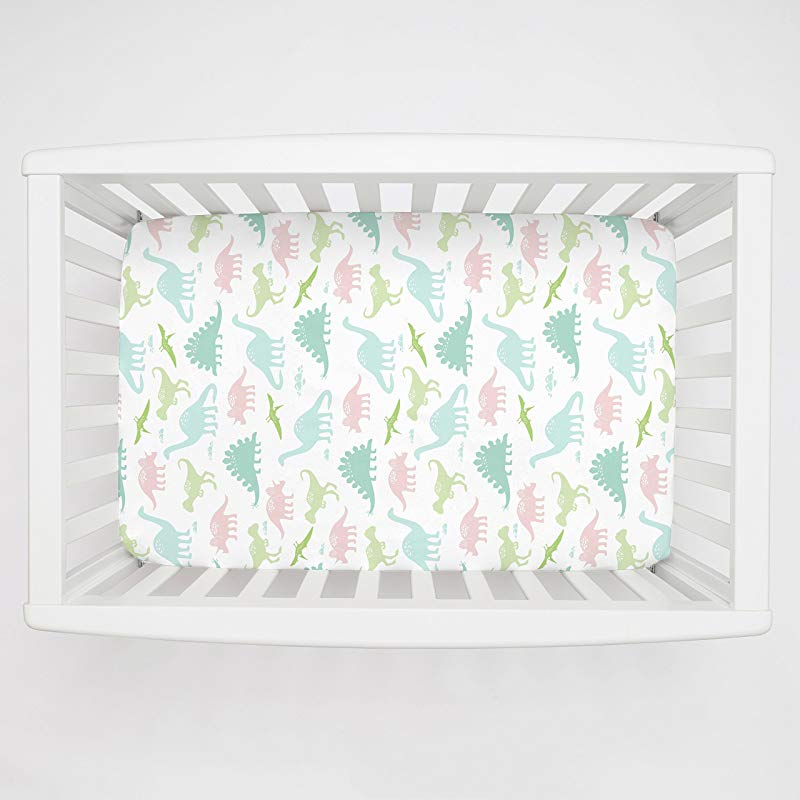Carousel Designs Pale Pink And Mint Dinosaurs Mini Crib Sheet 5 Inch 6 Inch Depth Organic 100 Cotton Fitted Mini Crib Sheet Made In The USA