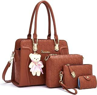 المرأة أزياء حقائب حمل حقائب الكتف أعلى مقبض حقيبة محفظة مجموعة 4 قطع