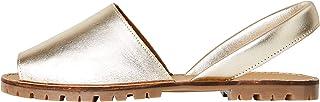 Marchio Amazon - FIND Menorcan Leather Sandali a Punta Aperta, Oro (Gold), 41 EU