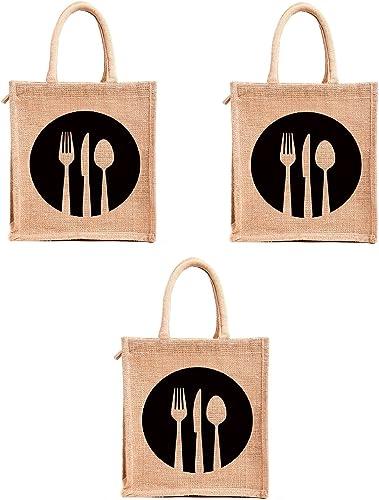 H&B Jute Bag with zip (11x10x6-inch) -Combo of 3