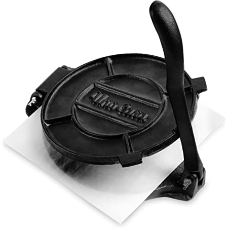 8 Corn Tortilla Press Cast Iron,Heavy Duty Non-Stick Tortilla Press Aluminum Alloy Tortilla Maker with 50 Pcs Oil Paper for Restaurant,Home,Kitchen,Easy to Use Black