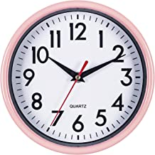 """Bernhard Products - Pink Wall Clock 8"""" Silent Non-Ticking Quality Quartz Battery Operated Clock for Girls/Kitchen/Classroo..."""