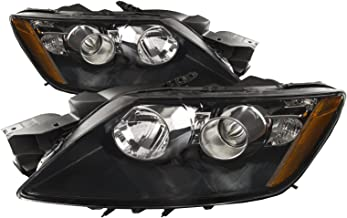 PERDE Black Housing Halogen Performance Lens Headlights Compatible with Mazda CX-7 2012 Includes Left Driver and Right Passenger Side Headlamps