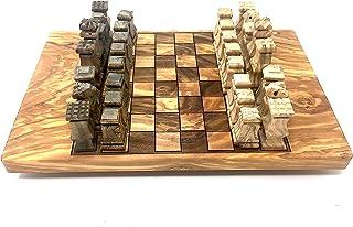 オリーブの木の数字のチェス盤30x20cm