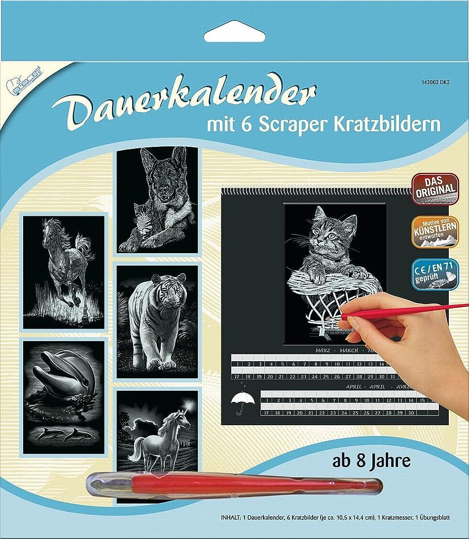 Scraper Mammut 143002 - Kratzbild Dauerkalender Tiere, silber by