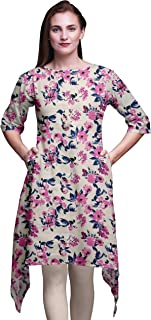 Bimba White Artistic Leaf & Floral Asymmetric Kurta Indian Tunic Tops For Women Printed Indian Clothing Small