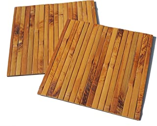 Square Bamboo Placemats Set (2) Handmade, Eco-Friendly and Heat-Resistant Table Mats for Decoration and Protection 7.9 x 7.9 inches, Dark Natural Bamboo