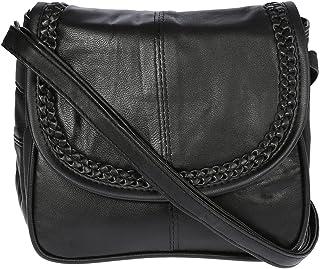 Unbekannt Kleine Lambskin Damen Leder Tasche Handtasche Überschlag Umhängetasche Schultertasche Clutch Damentasche Ledertaschen Schwarz 18x16x4 cm