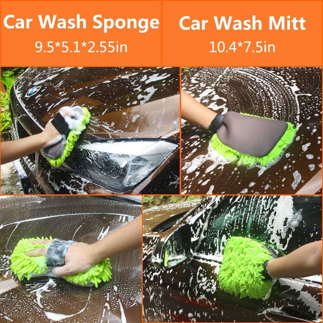 Premium Chenille Microfiber Wash Mitt Wash Glove Wash Sponge 2 Pack Scratch Free Lint Free Konpard Ultimate Car Wash Mitt